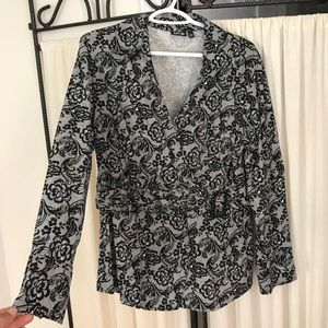 Apt. 9 Black and White Lace Top Size L